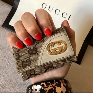 GUCCI GG Canvas & Leather Key Holder Case Authent